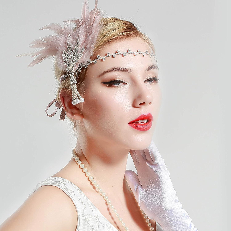 BABEYOND Damen Feder Stirnband 1920s Stil Flapper Art Deco Inspiriert von Great Gatsby Blatt Blinkende Kristalle Haarband