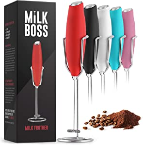 Milk Boss Powerful Milk Frother Handheld With Upgraded Holster Stand - Coffee Frother Electric Handheld Foam Maker - Milk Frother For Coffee, Lattes, Matcha & More - Electric Whisk Frother (Red)