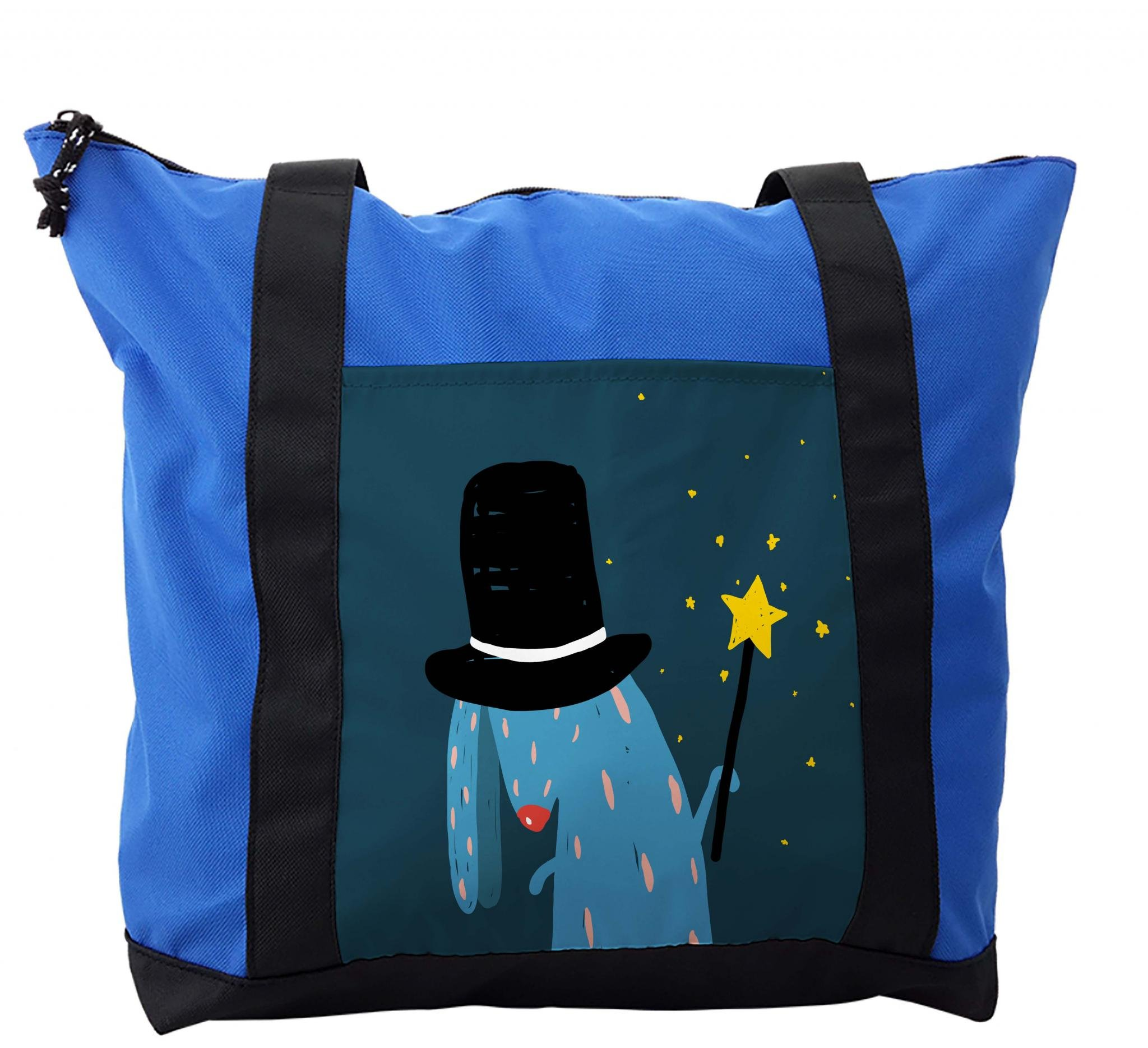 Lunarable Quirky Shoulder Bag, Wizard Rabbit with Black Hat, Durable with Zipper