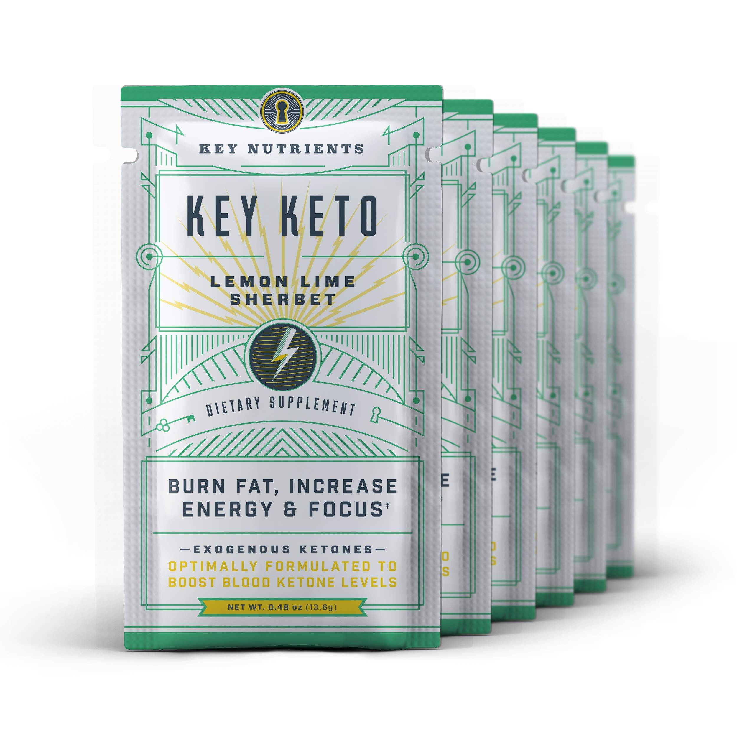 Exogenous Ketone Supplement, Key Keto: Patented BHB Salts (Beta-Hydroxybutyrate) - Formulated for Ketosis, to Burn Fat, Increase Energy and Focus, Supports a Keto Diet. 6 Keto Packets (Lemon Lime)