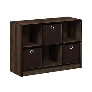 FURINNO Basic 3x2 Bookcase Storage, Columbia Walnut/Dark Brown