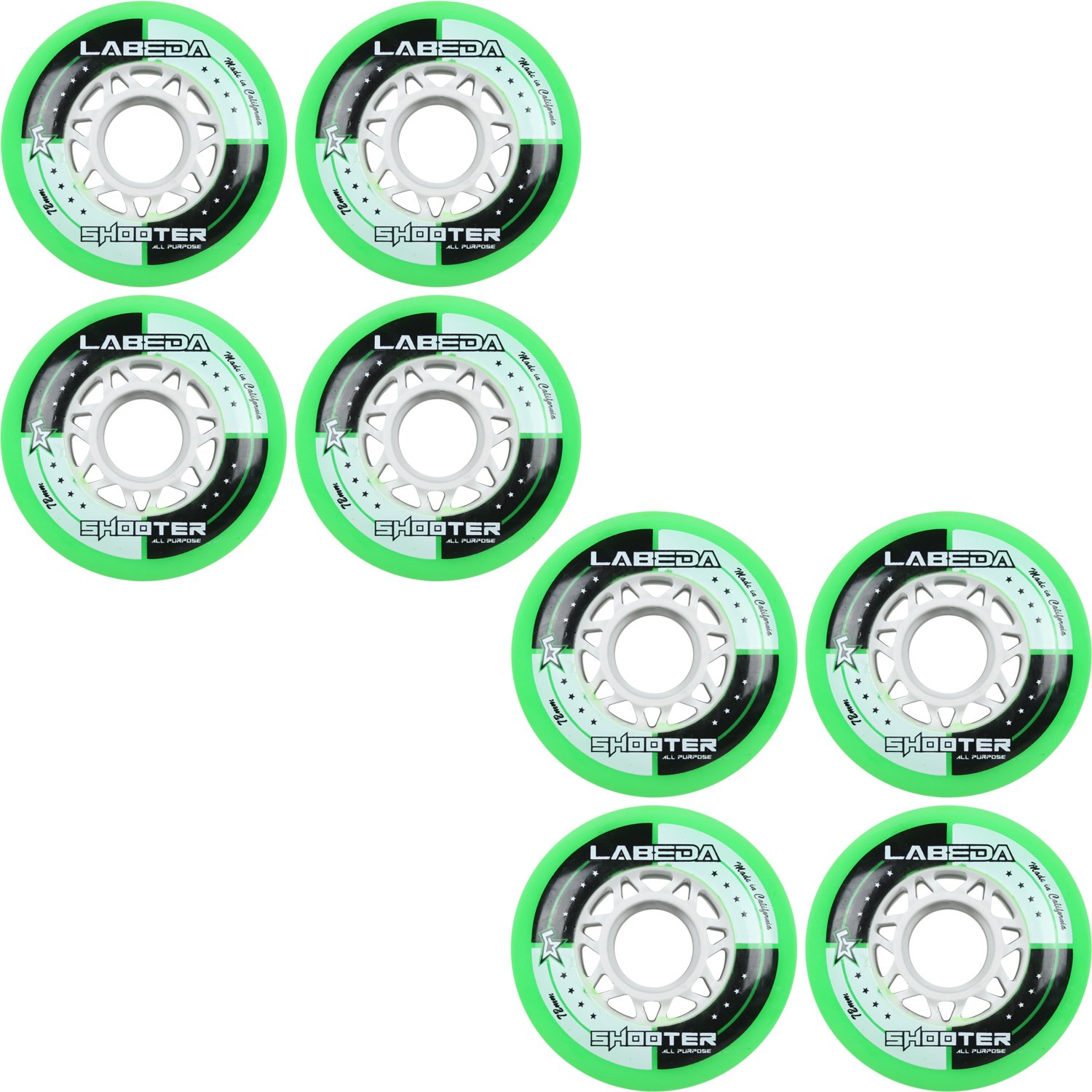 LABEDA WHEELS Inline Roller Hockey SHOOTER 8 Pack (72mm) by Labeda