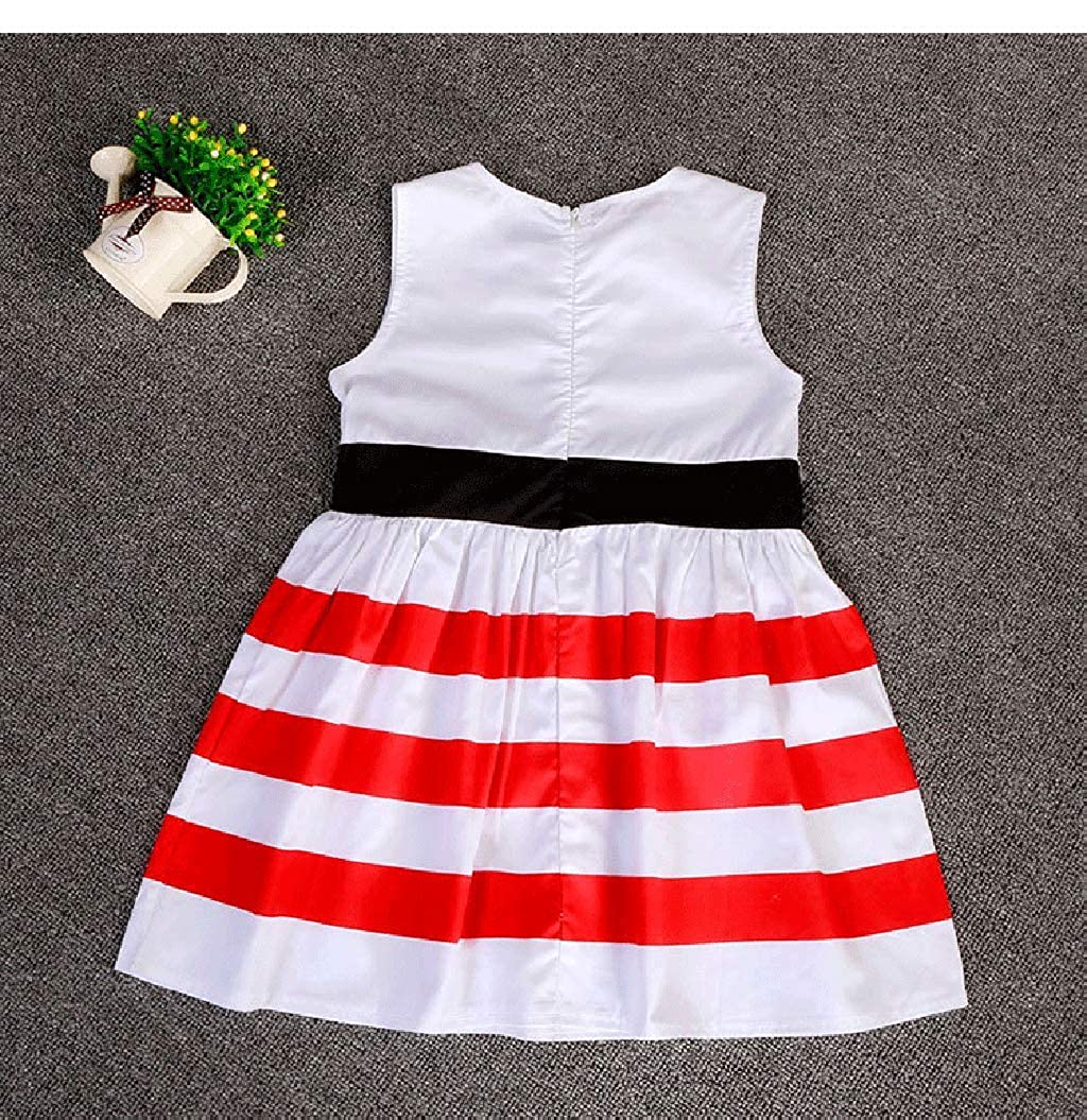 Dinlong Summer Toddler Kids Baby Girl Stylish Sleeveless Wide Stripe Dress Flower Printed Casual Princess Skirt