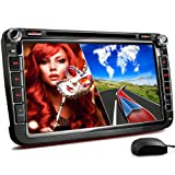 "XOMAX XM-2DN802 radio de coche Volkswagen / SKODA / SEAT/ Moniceiver reproductor multimedia / naviceiver con GPS + NAVIGATION software incluye mapas de Europa + Bluetooth manos libres + 8 ""/ 20 cm visualización de la pantalla táctil + HD + DVD / CD + puerto USB soporta hasta 128 GB + tarjeta de memoria Micro SD ranura soporta hasta 128 GB + MPEG4, MP3, WMA, AVI, DivX, etc + conexiones: subwoofer, cámara de vista trasera y control remoto del volante + Doble DIN (2-DIN) + incluyendo antena GPS"