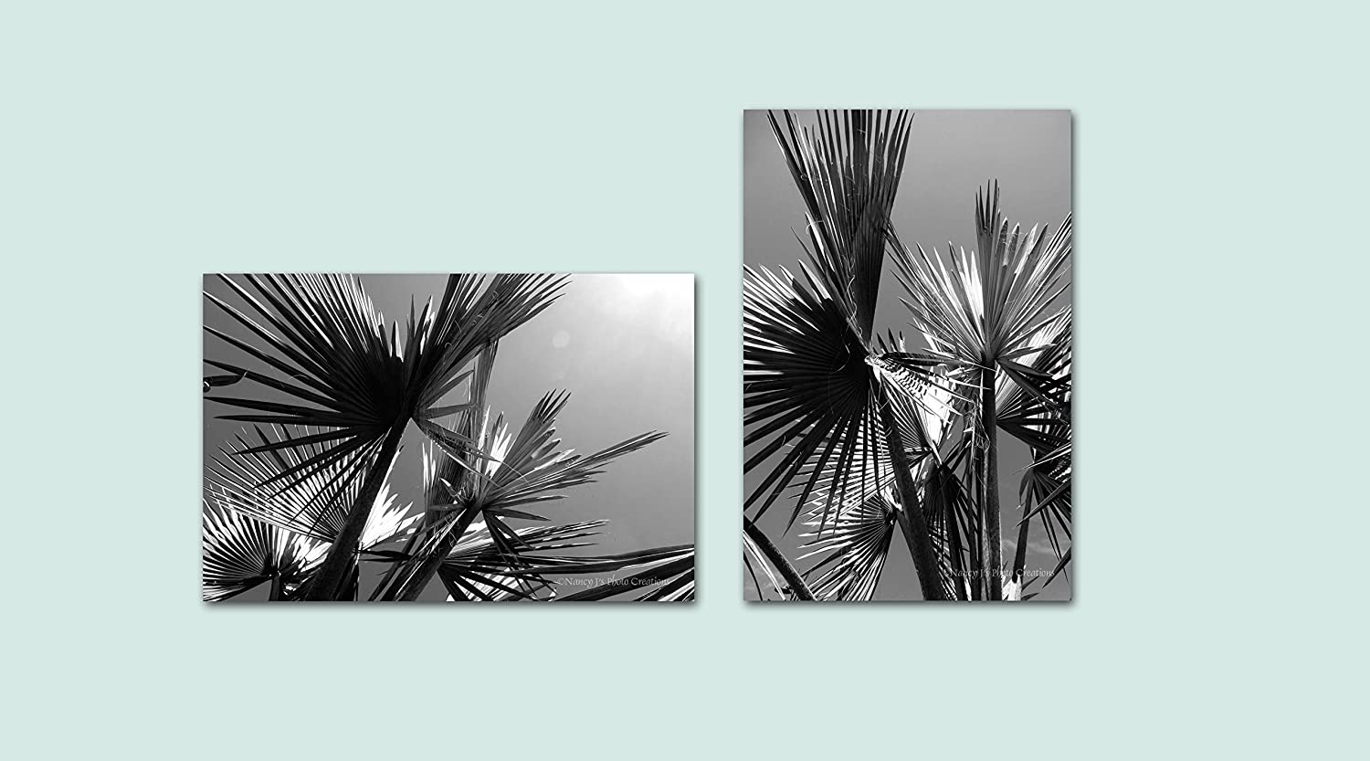 Black and white unframed photographic prints asymmetrical set of two palm tree photos gray wall decor for home or office bold monochromatic art 5x7 8x10