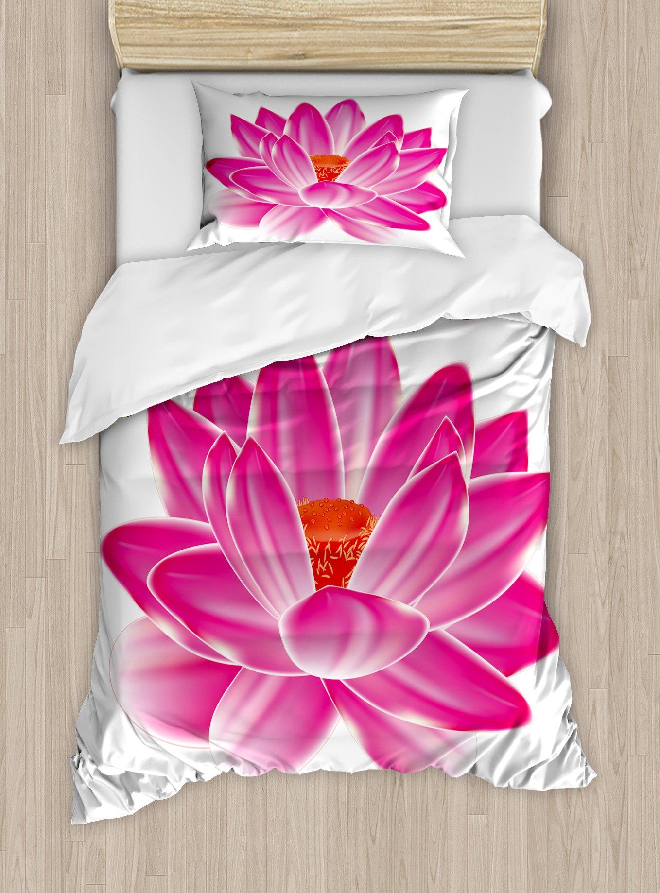 Ambesonne Lotus Duvet Cover Set Twin Size, Vibrant Lotus Flower Pattern Spa Zen Yoga Asian Balance Energy Lifestyle Artsy Image, Decorative 2 Piece Bedding Set with 1 Pillow Sham, Magenta Red