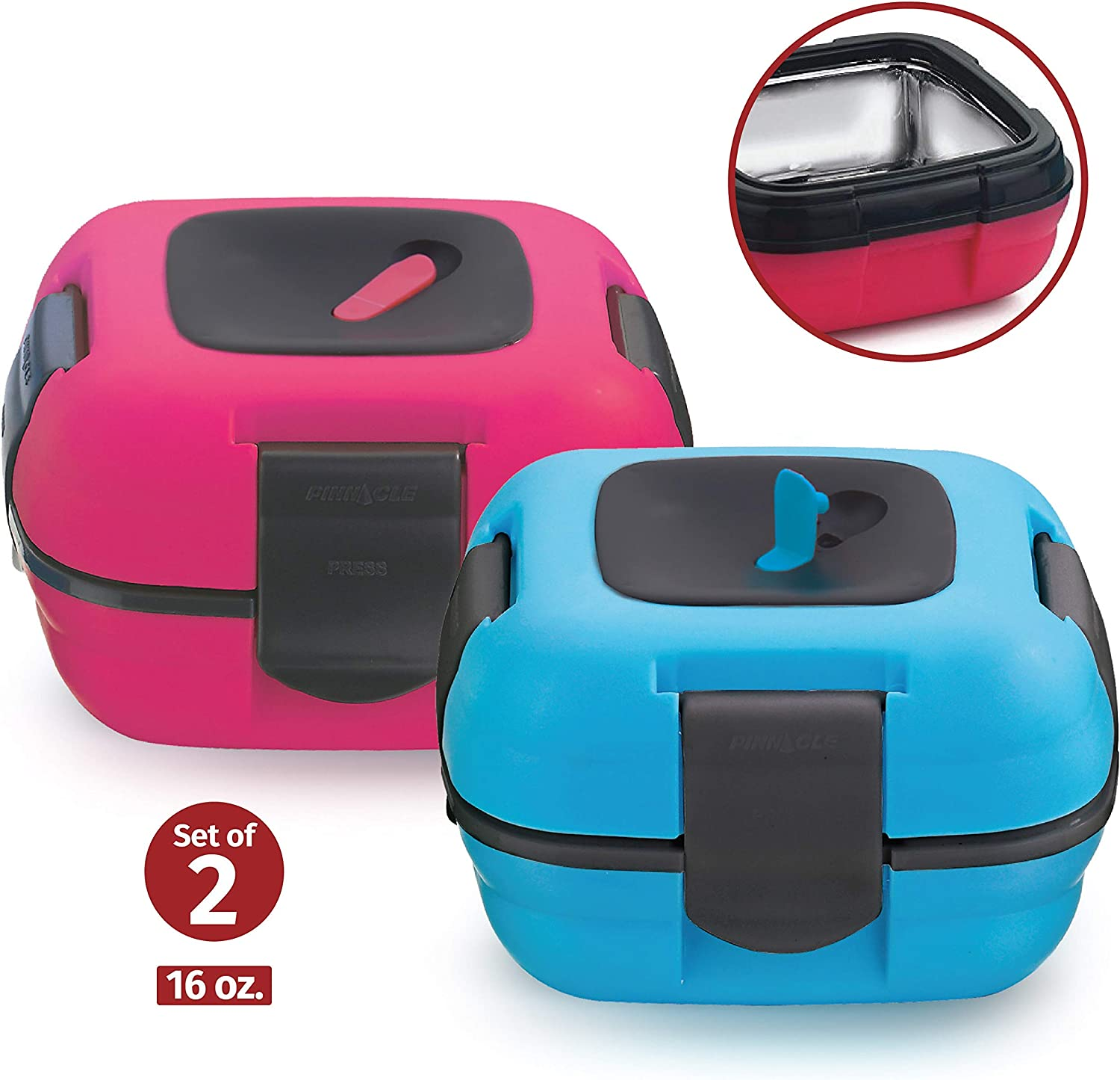 Lunch Box ~ Pinnacle Insulated Leak Proof Lunch Box for Adults and Kids - Thermal Lunch Container with New Heat Release Valve 16 oz ~Set of 2~ Blue-Pink