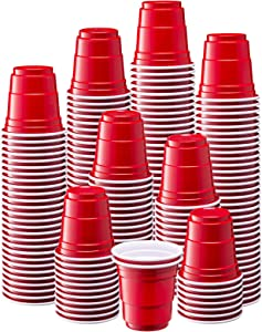 [300 Count - 2 oz.] Mini Plastic Shot Glasses - Red Disposable Jello Shot Cups