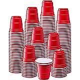[300 Count - 2 oz.] Mini Plastic Shot Glasses - Red Disposable Jello Shot Cups
