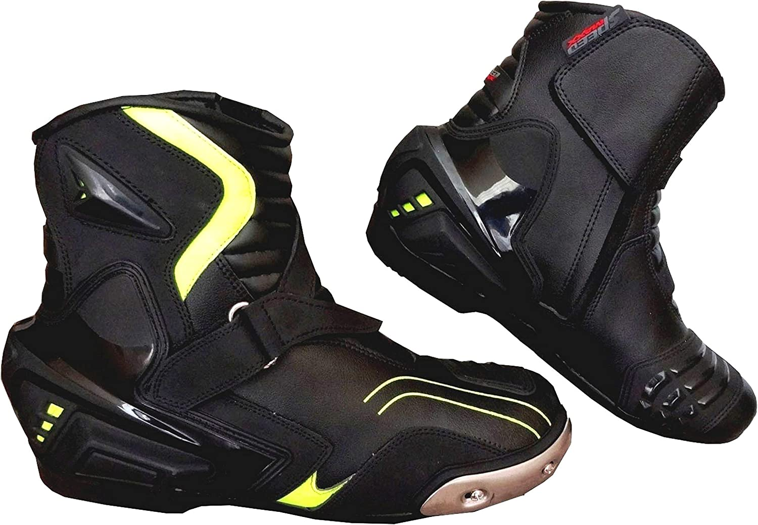 Black 7 UK Speed MaxX Real Leather HiViz BLK Mens Motorbike Motorcycle Racing Short Sports Shoes Boots