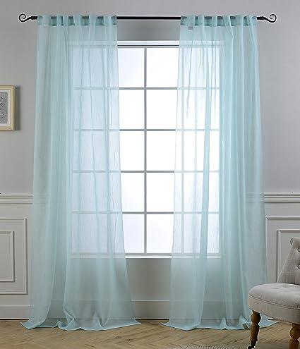 MYSKY HOME Back Tab And Rod Pocket Window Crushed Voile Sheer Curtains Aqua 51