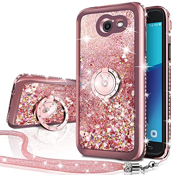 sale retailer 121e0 cf0a1 Galaxy J7 Perx Case,Galaxy J7 Prime/J7 V/J7 Sky Pro/Halo Case, Silverback  Girls Moving Liquid Holographic Sparkle Glitter Case with Ring, Bling ...