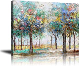 Abstract Nature Canvas Wall Art Modern Pictures Colorful Trees in The Forest Oil Painting, Giclee Print Wall Decor Artwork for Living Room Bedroom Home Decoration Ready to Hang