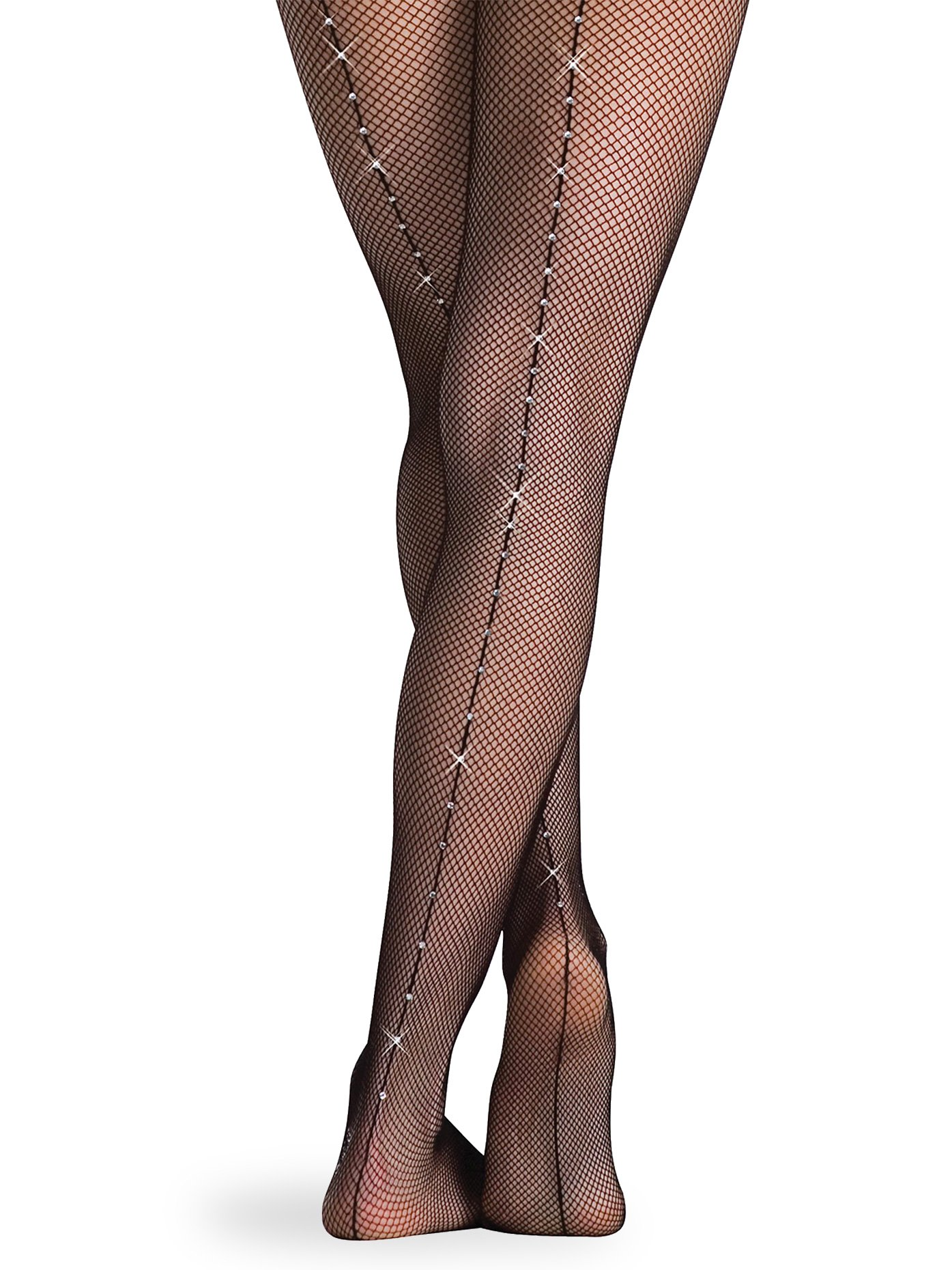 Body Wrappers C64 TotalSTRETCH Girls' Backseam Rhinestone Fishnet Tights (8-14, Black)