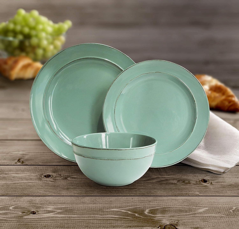 American Atelier 6512-12-WM Olivia 12 Piece Round Dinnerware Set, 10.4 x 10.4 , Sea Foam Green