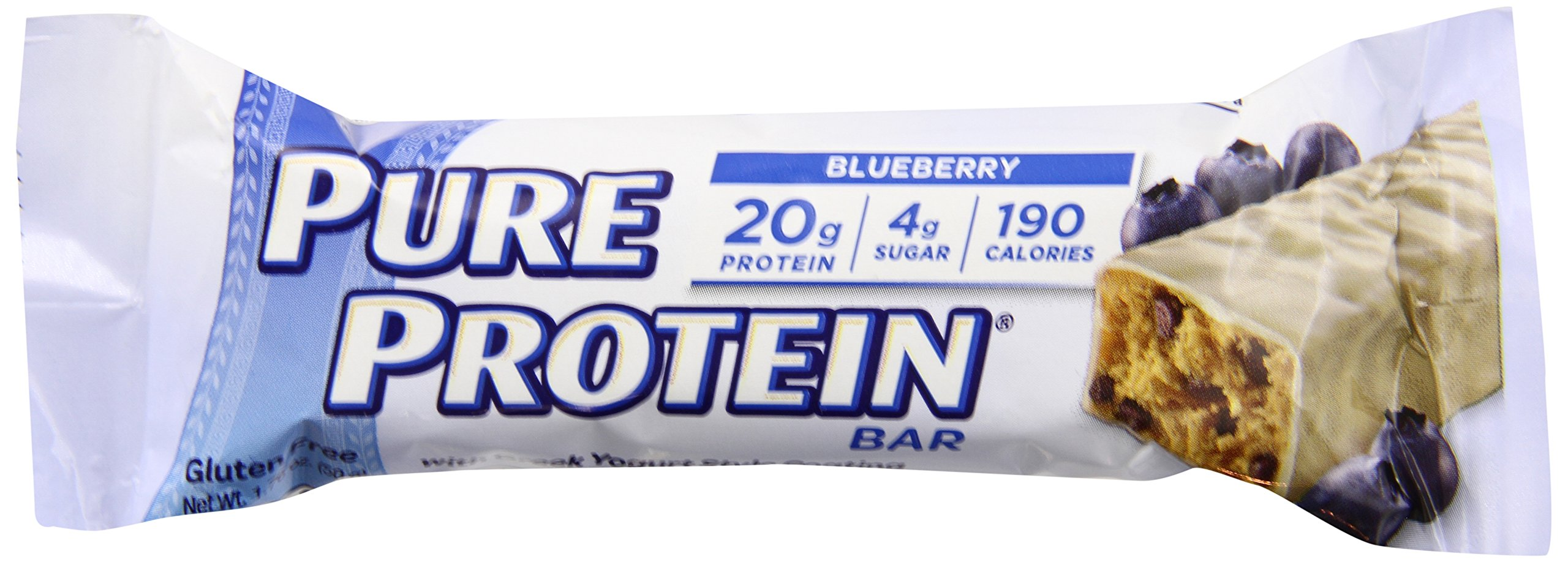 Pure Protein Bars, High Protein, Nutritious Snacks to Support Energy, Low Sugar, Gluten Free, Blueberry Greek Yogurt, 1.76 oz, 6 Count