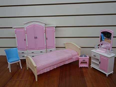 Charmant Barbie Size Dollhouse Furniture  Bed Room U0026 Wardrobe Set