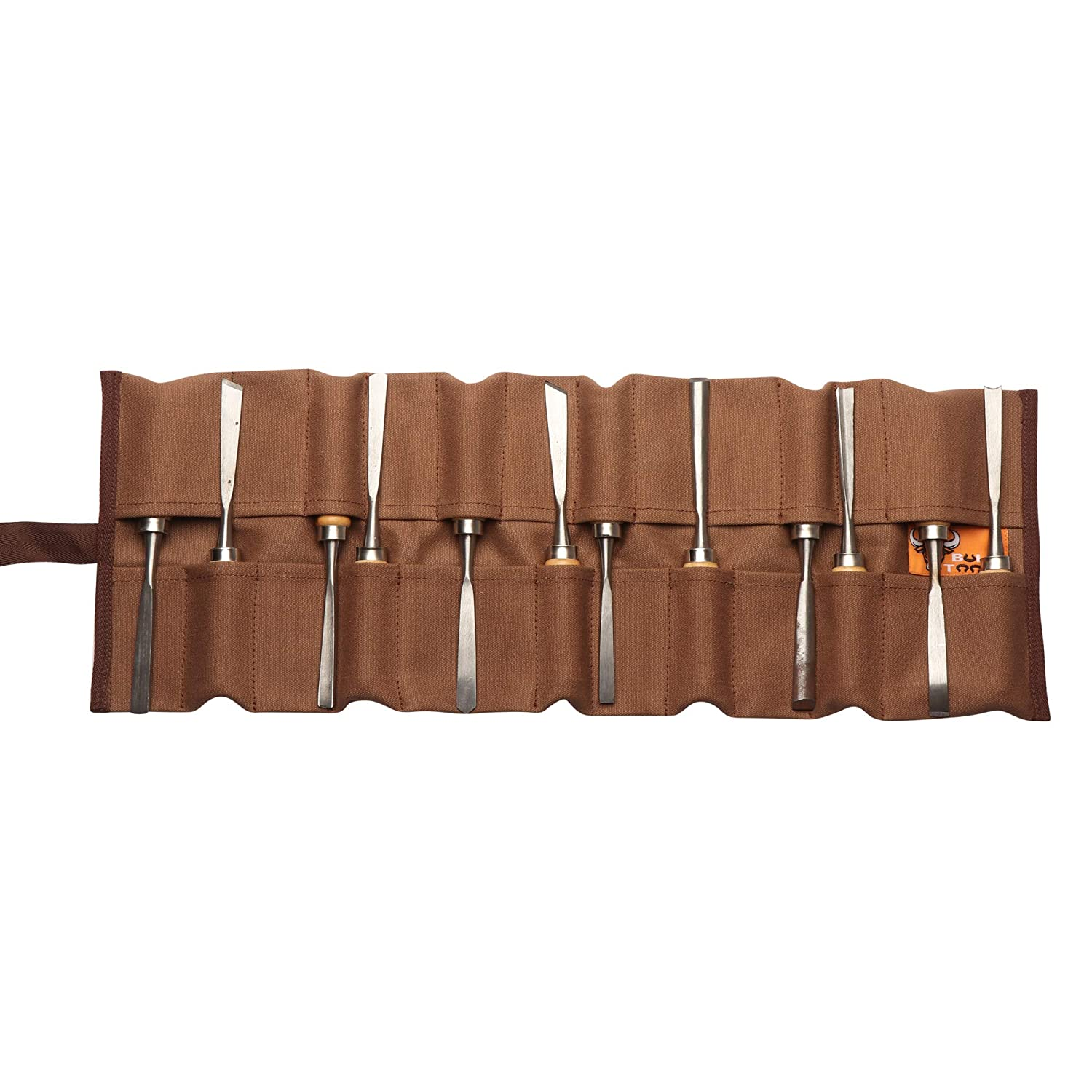 Bull Tools BT 18-501 Wood Working /& Carving Tool Storage Organizer Tool Roll Dyed Heavy Weight Cotton Canvas 24 Pocket Olive Drab