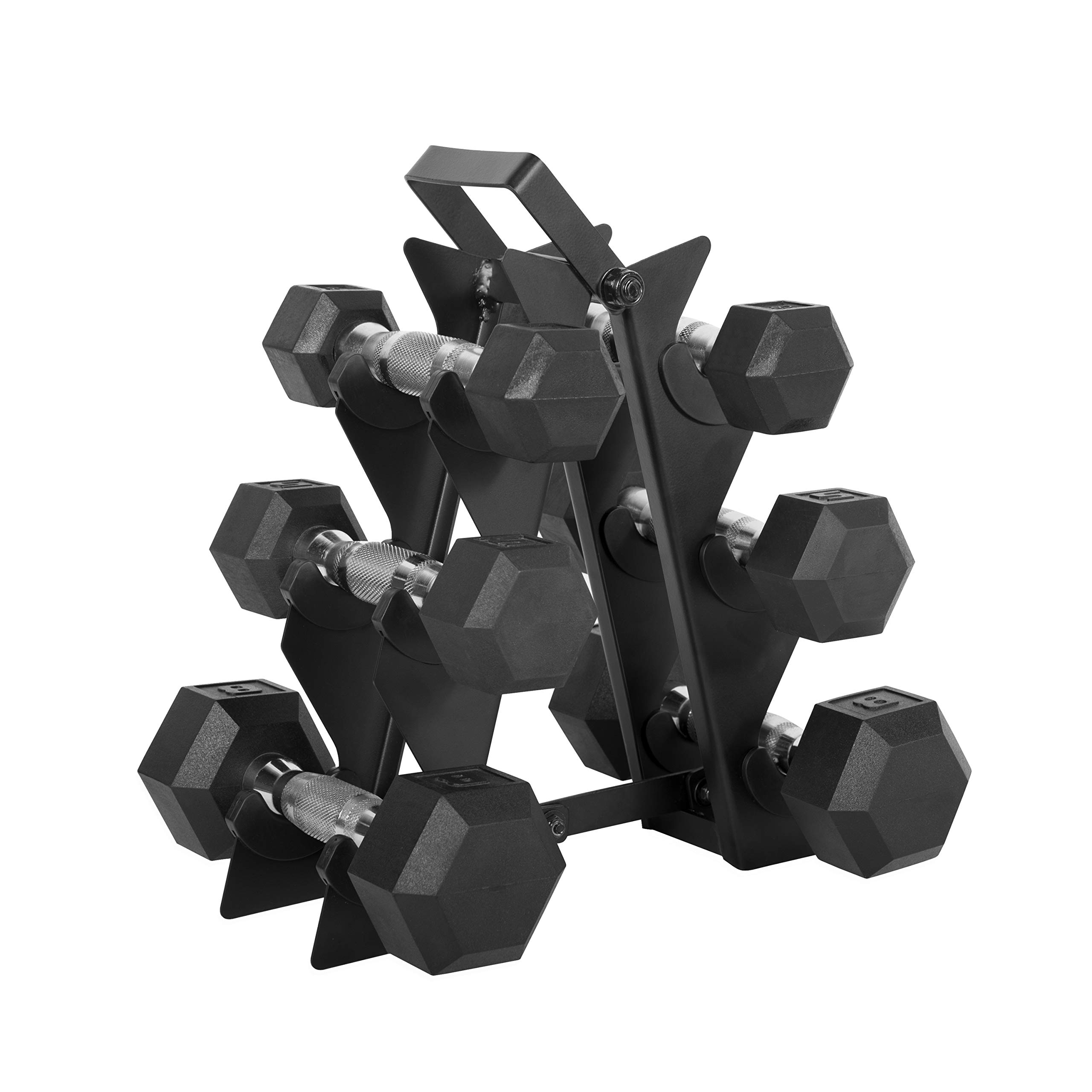 WF Athletic Supply Dumbbell Set with Storage Rack (32lb Rubber Coated Dumbbell Set)