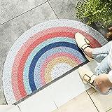 HelloTree Creative Semi-Circular Area Rug Anti Slip Door Mat Rainbow Sun Printing Floor Mats Bedroom Carpet Rugs Entrance Doo