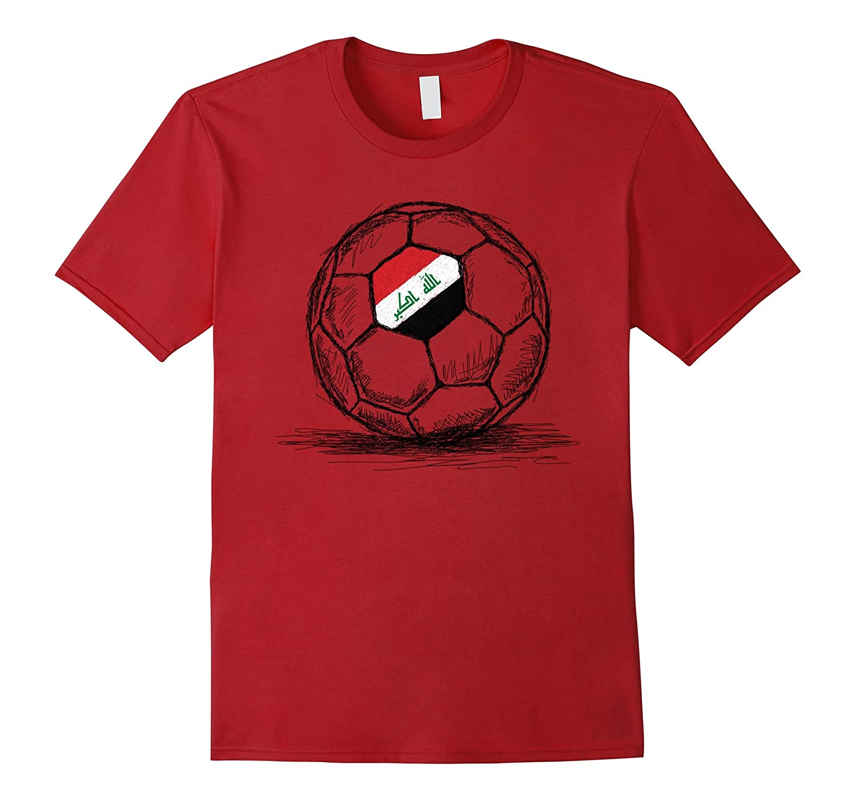 Iraq Iraqi Flag Design On Soccer Ball Jersey T-Shirt-Teevkd