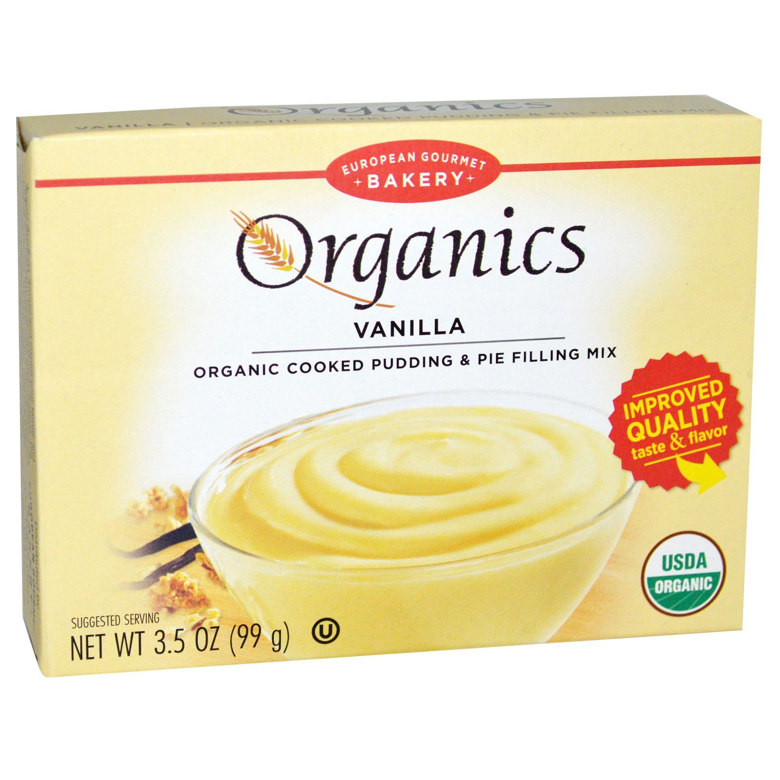 European Gourmet Bakery, Organics, Cooked Pudding and Pie Filling Mix, Vanilla, 3.5 oz (99 g)(PACK 1)