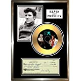 "ELVIS PRESLEY - "" SIGNED CHEQUE "" FRAMED GOLD VINYL CD & PHOTO DISPLAY"