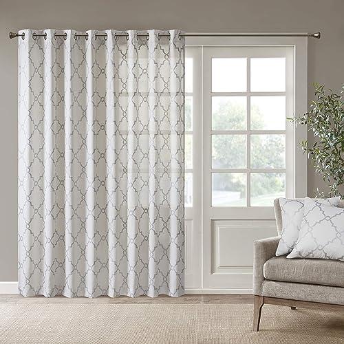 Madison Park Saratoga Window Curtain Light Filtering Fretwork Print 1 Panel Grommet Top Drapes/Valance