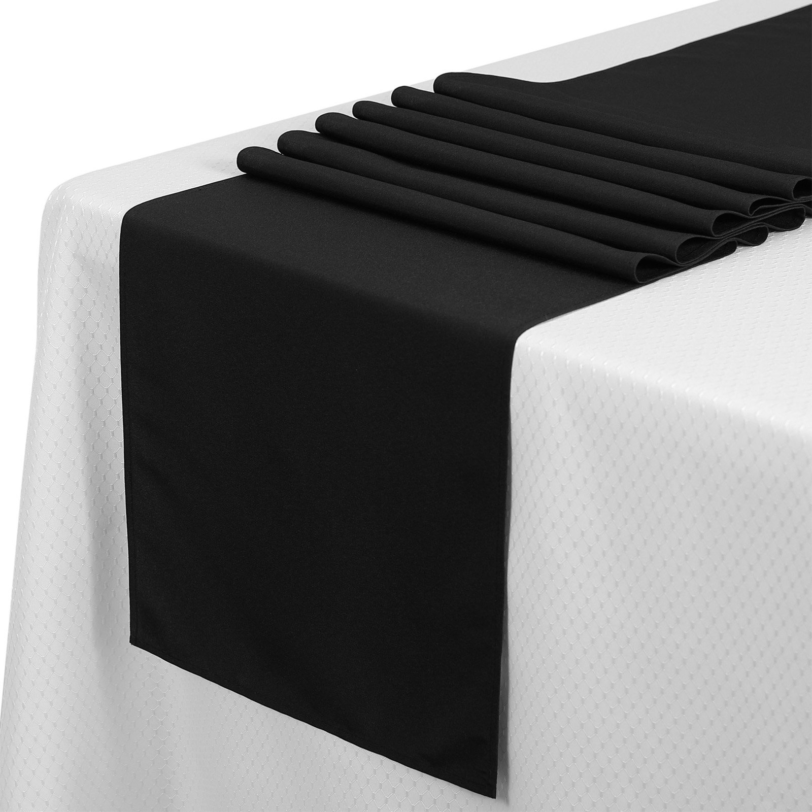 VEEYOO 10 Pieces 14x108 inch Polyester Table Runner for Restaurant Kitchen Dining Wedding Party Banquet Events, Black