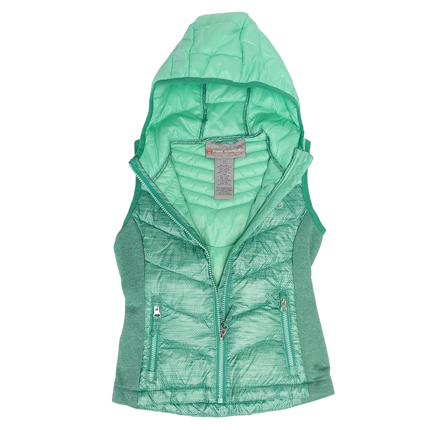 02217e9f7fbf Amazon.com  Free Country Girls Power Down Hooded Puffer Vest (X ...