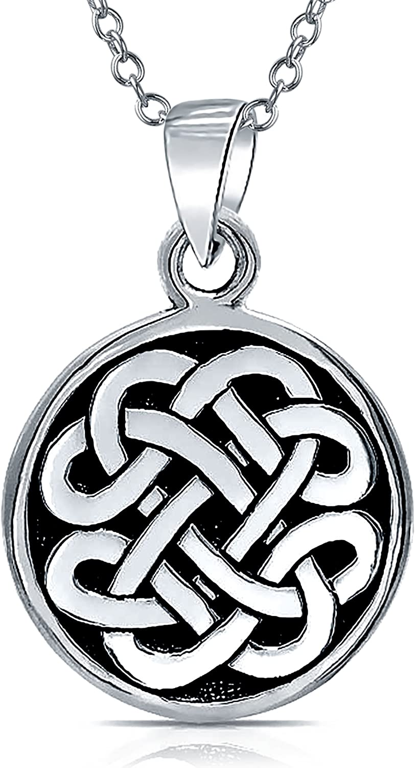Personalized Engravable Celtic Knot Irish Friendship Round Circle Medallion Pendant Necklace Women Men Sterling Silver