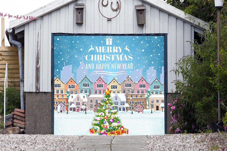 Сity Christmas Tree Single Garage Door Covers Billboard Full Color 3D Effect Print Door Decor Decorations of House Garage Holiday Mural Banner Garage Door Banner Size 83 x 89 inches DAV207