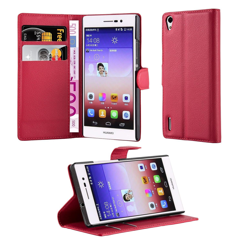 Cadorabo Carcasa para Huawei P7 móvil en Color Rojo carmín Funda con Tarjetero y función Atril Case Cover Carcasa Funda Book Style Carmín de Color ...