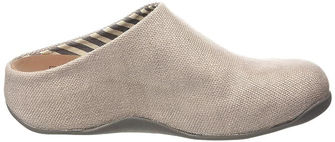 FitFlop Shuv Linen, Sabots Femme - Gris - Grey (Charcoal 052), 37 EU
