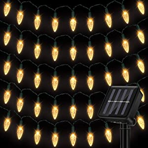 Solar C6 Strawberry String Lights 8 Modes 16.4 Feet Christmas Lights 50 LED Solar Fairy Lights Christmas Light String Outdoor Waterproof for Wedding Party Home Garden Decoration (Warm Light)