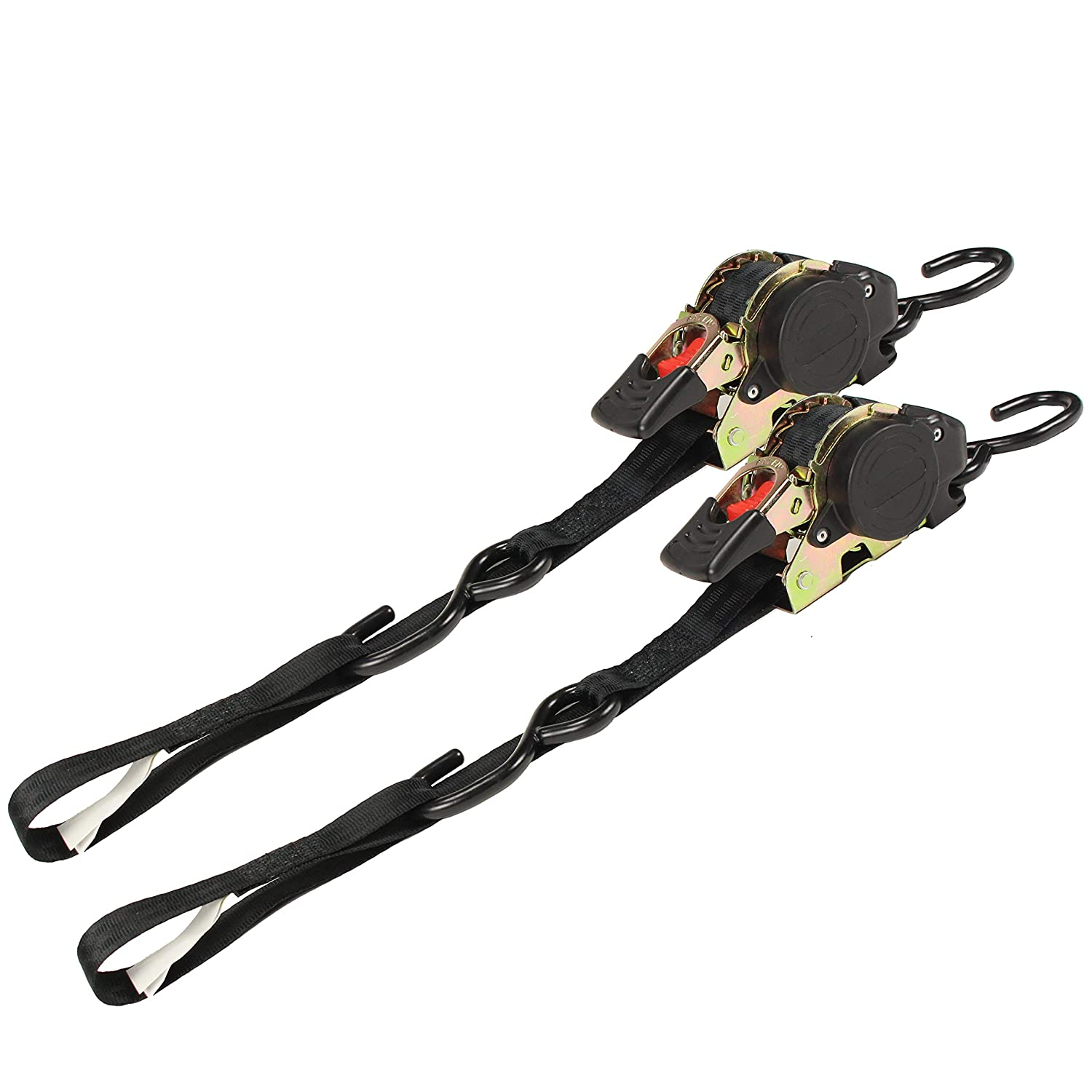 Auto Retract NO-RATCHETING Ratchet Straps w/Soft Loop | 1' x 10' SELF-CONTAINED Compact Cargo Strap Tiedowns for Tight & Secure Hauling and Anchoring in Trailers, Garages, Trucks, Pickups | 2 Pack DC Cargo Mall