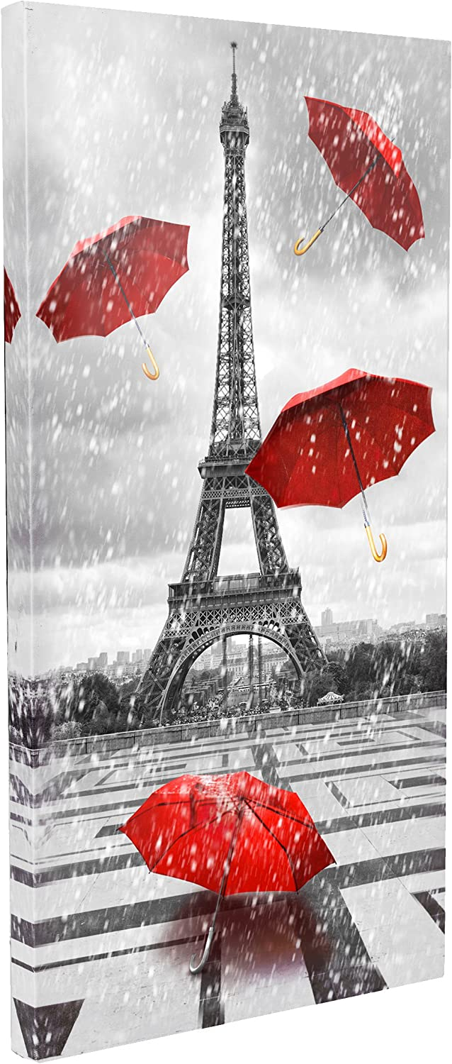 DongLin Art Canvas Wall Art Black and White Paris Eiffel Tower Canvas Paintings Wall Art Large Modern Red Unbrellas on Rain Canvas Prints Wall Decors for Living Room Girls Bedroom Bathroom, (Framed, 12x 24inch)