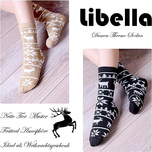 Libella Lot de 4//8 Femme chaussettes thermiques dhiver en coton /éponge 2230