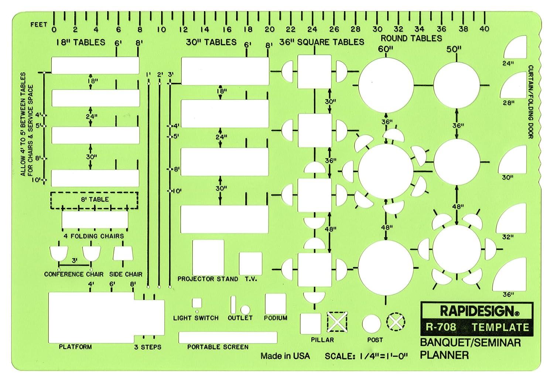 Rapidesign 1/8 Inch Banquet/Seminar Planner Template, 1 Each (R709) Chartpak