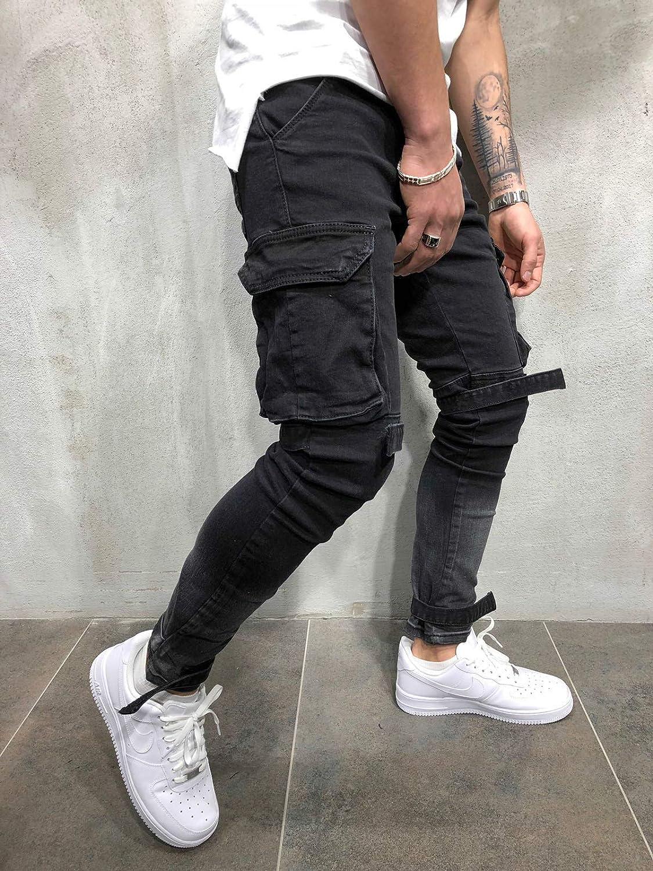 BMEIG Jeans Ajustados Hombre Rotos Pantalones de Mezclilla El/ásticos Slim Fit Ripped Desgastados con Bolsillo Trabajo Hiphop Pantalones de Ch/ándal Cargo Invierno Negro M-4XL