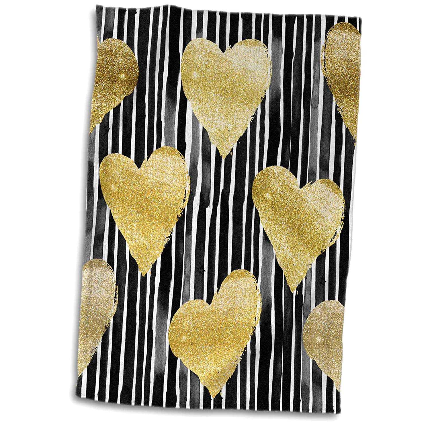 TWL/_252985/_1 3dRose Anne Marie Baugh Patterns 15x22 Hand Towel Black and White Hand Painted Stripes with Gold Hearts Pattern