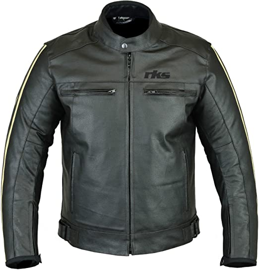 RKsports Mens Leather Fashion Motorcycle Motorbike Speed 1 Jacket with Armour in Black Beige