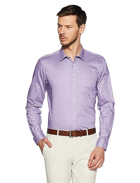 c2d4dd4473b0 blackberrys Men's Solid Slim Fit Cotton Formal Shirt (BP-S-EADS #  Purple_Purple_44
