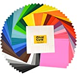 "Permanent Adhesive Backed Vinyl Sheets - PrimeCuts - 65 SHEETS 12"" x 12"" - 65 Assorted Color Sheets for Cricut, Silhouette Cameo, and Other Craft Cutters"