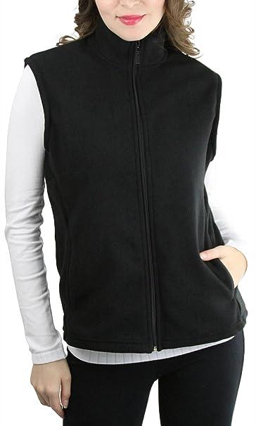 c60e8ecf8c ToBeInStyle Women s Zip Up Sleeveless Polar Fleece Vest - Black - Small