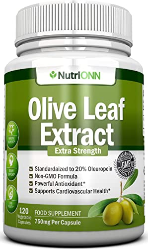 Olive Leaf Extract – 750 Mg – 120 Capsules – Extra Strength – 20 Oleuropein – Non-GMO Formula – Highest Quality From Pure Olive Leaves – Powerful Antioxidant – Great for Heart, Skin and Immune System