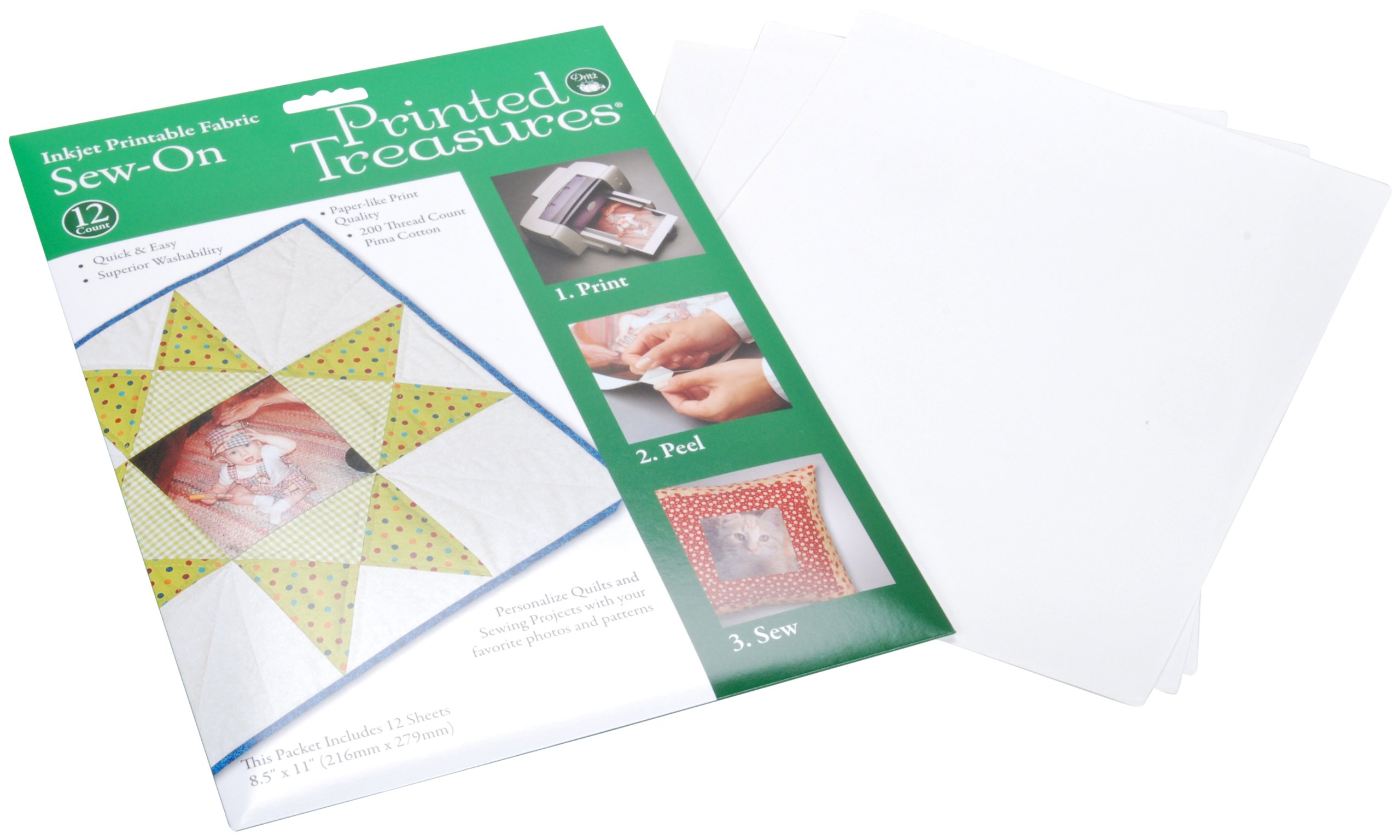 Printed Treasures Inkjet Printable Fabric, Sew-In, 12 sheets by Dritz (Image #1)