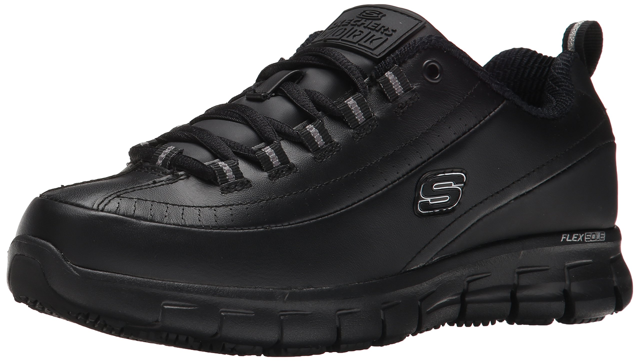 Skechers for Work Women's Sure Track Trickel Slip Resistant Work Shoe, Black, 6 XW US