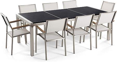 Beliani Conjunto de jardín Mesa con Tablero de Piedra Natural Negro Pulido 220 cm, 8 sillas Blancas GROSSETO: Beliani: Amazon.es: Hogar
