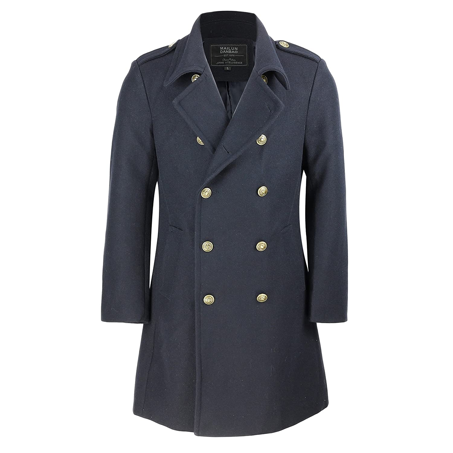 Steampunk Men's Coats Mens Vintage Military Style Wool Mix Double Breasted Jacket Slim Fit Long Winter Overcoat in Black Navy Blue £86.99 AT vintagedancer.com